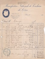MANUFACTURE NATIONALE DE PORCELAINE DE SEVRES - FACTURE FACTURA FRANCE CIRCA 1910s - BLEUP - Francia