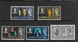 Great Britain, EIIR, 1964 Shakespeare Set, Phosphor, MNH ** - Unused Stamps