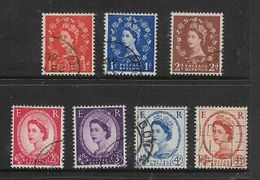 Great Britain, EIIR, 1958 -1961 Graphite Lines Issue, 1/2d. 1d, 2d  - 4 1/2d,used - 1952-.... (Elizabeth II)