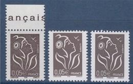 = Marianne De Lamouche 0.05€ Bistre-noir 3 Types 3754 (ITVF), 3754A (Phil@poste) Et 3754b (ITVF) Timbres Neufs - 2004-08 Marianne Of Lamouche