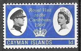 1966 1d Royal Visit, Mint Hinged - Cayman Islands