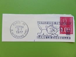 Flamme - Jetez Vos Papiers - Dessin D'un Chat - Cachet Rue Du Louvre (Paris 1er) - Timbre YT N° 1892 - 1977 - Postmark Collection (Covers)