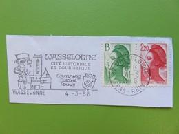 Flamme - Wasselonne (Bas-Rhin) - Cité Historique - Cachet 1988 - Timbres YT N° 2483 Et 2376 - Postmark Collection (Covers)