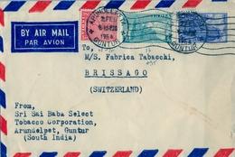 1954 , INDIA , FRAGMENTO DE SOBRE CIRCULADO , ARUNDELPET ( GUNTUR ) - BRISSAGO - 1950-59 República
