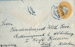 "1905 , INDIA , SOBRE ENTERO POSTAL , ELLICHPUR - KIEL , LLEGADA , TRÁNSITOS "" S.F.A. - POST OFFICE  "" - Sobres"
