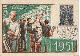 """1951 - LE HAVRE Journée Nationale Du Timbre  - Verso Vignette """"LE HAVRE RENAITRA DE SES RUINES"""" - FDC"""