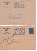 2 Enveloppes Des Chèques Postaux - Service Des Postes - Envoi En Franchise De Paris Pour Le Calvados - Marcophilie (Lettres)