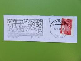 Flamme - Kourou - Guyane - Centre Spatial - Port Spatial De L'Europe - 16.01.01 - Timbre Marianne De Luquet - Postmark Collection (Covers)