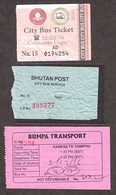BHUTAN 2x Thimphu City BUS TICKET Of Nu 5 (~ 2008) And  Nu 15 (recent), Managed By Bhutan Post & 1x Kabesa -Thimphu - Bus