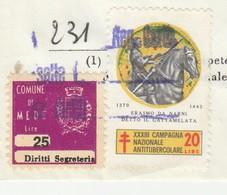 Mede. 1971. Marca Municipale Diritti Di Segreteria L. 25, Su Documento - Otros
