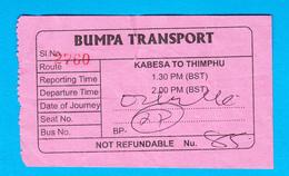 BHUTAN 1x BUS TICKET Kabesa -Thimphu, Used - Bus