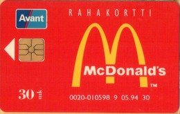 Finland - AVA-20, Avant, McDonald's, Fast Foods, 12,30 Mk, 5/94, Used - Finnland