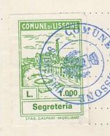 Lissone. 1983. Marca Municipale Diritti Di Segreteria L. 1000, Su Documento - Otros