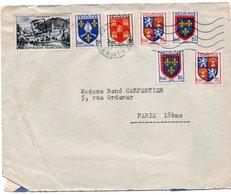 LSC 1957 - Oblitérarion Par Petit Cachet Carré XVIII Sur YT 976 & Obliterarion PARIS Sur Divers Timbres Blasons - Postmark Collection (Covers)