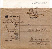 Belgien 1915, Brief V. Antwerpen M. Briefstempel MATROSEN-ARTILLERIE KOMPAGNIE - Deutschland