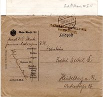 Belgien 1915, Brief V. Antwerpen M. Briefstempel MATROSEN-ARTILLERIE KOMPAGNIE - Covers