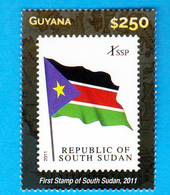 SOUTH SUDAN 1st Stamp National Flag On 2015 Guyana Stamp On Stamp Südsudan Soudan Du Sud - South Sudan