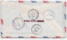 1963- PNEUMATIQUE - Cachet Paris R. Epée De Bois & Griffe PARIS BOURSE - Enveloppe Des USA Pour Colombes -Exprès - Marcophilie (Lettres)