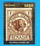 SOMALIA Benadir Poste Italiane1st Stamp Somalia On 2015 Guyana Stamp On Stamp - Somalië (1960-...)