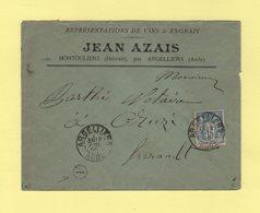Argelliers - Aude - 1898 - Boite Rurale A De Montouliers - Enveloppe Sans Correspondance - Type Sage - Marcofilie (Brieven)