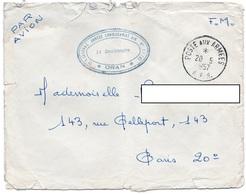 LSC 1957 - Cachet Poste Aux Armées AFN & Cachet ORAN Et Régional Annexe Commissariat AIR - Algeria (1924-1962)