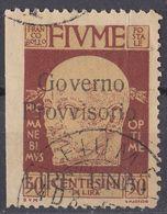 FIUME - 1921 - Yvert 137 Usato, Non Dentellato Sul Lato Sinistro, Di Seconda Scelta, Come Da Immagine. - 8. Besetzung 1. WK