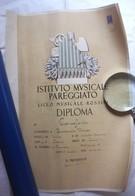 DIPLOMA ISTITUTO MUSICALE PAREGGIATO LICEO MUSICALE ROSSINI PESARO FIRMA AUTOGRAFA AMILCARE ZANELLA 1939 - Diploma & School Reports