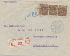 Nederlands Indië - 1920 - 3x 15 Cent Veth Met Strepen In Strip Op R-cover Van LB Balikpapan Naar Amsterdam - Nederlands-Indië