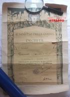 DIPLOMA (?) MINISTRO DELLA GUERRA RICORDO DELLA PRIMA GUERRA MONDIALE 1915 1918 DISEGNO DUILIO CAMBELLOTTI - Diploma & School Reports