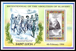 St Lucia 1994 Abolition Of Slavery Souvenir Sheet Unmounted Mint. - St.Lucia (1979-...)