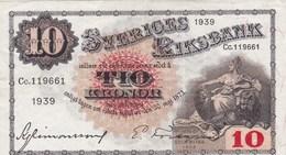 Suède - Billet De 10 Kronor - Gustav Vasa - 1939 - P34v - Zweden