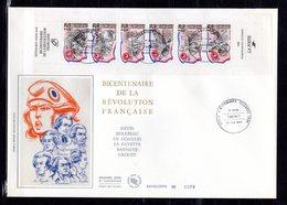 """ REVOLUTION FRANCAISE : PERSONNAGES CELEBRES "" Sur Enveloppe 1er Jour Gd Format N° YT BC2570. FDC - French Revolution"
