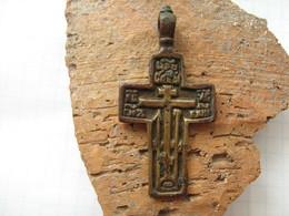 Ancient Copper Cross 18-19 Century - Archéologie