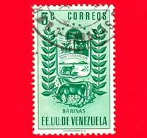 VENEZUELA - Usato - 1953 - Stemma Dello Stato Di Barinas - Arms - 5 - Venezuela