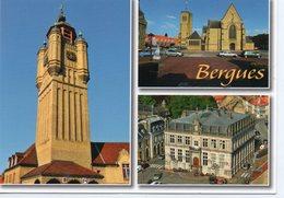 Bergues Belle Multi-vues Le Beffroi L'Eglise St-Martin La Mairie Voitures - Bergues