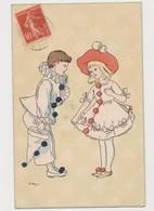 Carte Fantaisie Signée A.Beyer / Pierrot Et Fillette Habillée En Pierrot - Illustrateurs & Photographes