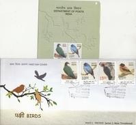 India  2016   Birds  Flycatcher  Woodpecker  Pigeon  4v  FDC + Plain Brochure  # 77041  D  Inde Indien - Songbirds & Tree Dwellers