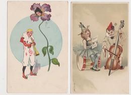2 Cartes Fantaisie  / PIERROT Musicien ; Femme Fleur - Fantaisies