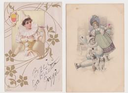 2 Cartes Fantaisie  / Pierrot , Colombine , Champagne - Fantaisies