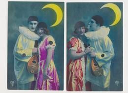 2 Cartes Fantaisie  / Pierrot à La Mandoline Et Sa Belle Sous Un Croissant De Lune - Fantaisies