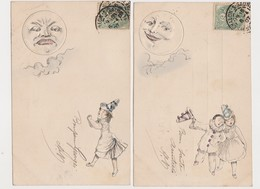 2 Cartes Fantaisie  Gaufrée  / Pierrot , Colombine , Lune - Fantaisies