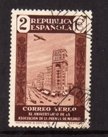 SPAIN ESPAÑA SPAGNA 1936 AIR MAIL CORREO AEREO PRESS BUILDING MADRID CENT. 2c USATO USED OBLITERE' - Gebraucht