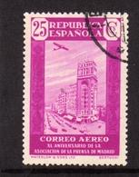 SPAIN ESPAÑA SPAGNA 1936 AIR MAIL CORREO AEREO PRESS BUILDING MADRID CENT. 25c USATO USED OBLITERE' - Usati
