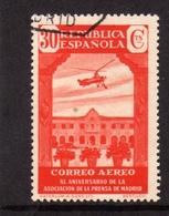 SPAIN ESPAÑA SPAGNA 1936 AIR MAIL CORREO AEREO MADRID PRESS ASSOCIATION HOUSE OF NAZARETH CENT. 30c USATO USED OBLITERE' - Usati