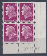 MARIANNE CHEFFER N° 1536 - Bloc De 4 COIN DATE - NEUF SANS CHARNIERE - 22/11/67 - Coins Datés