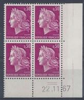 MARIANNE CHEFFER N° 1536 - Bloc De 4 COIN DATE - NEUF SANS CHARNIERE - 22/11/67 - 2 Traits - Coins Datés