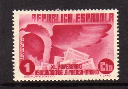 SPAIN ESPAÑA SPAGNA 1936 AIR MAIL CORREO AEREO PRESS BUILDING MADRID EAGLE NEWSPAPERS CENT. 1c MLH - Ungebraucht
