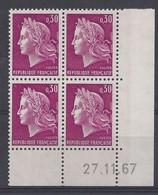 MARIANNE CHEFFER N° 1536 - Bloc De 4 COIN DATE - NEUF SANS CHARNIERE - 27/11/67 - Coins Datés