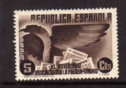 SPAIN ESPAÑA SPAGNA 1936 AIR MAIL CORREO AEREO PRESS BUILDING MADRID EAGLE NEWSPAPERS CENT. 5c MLH - Ungebraucht