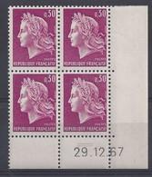 MARIANNE CHEFFER N° 1536 - Bloc De 4 COIN DATE - NEUF SANS CHARNIERE - 29/12/67 - 2 Traits - Coins Datés